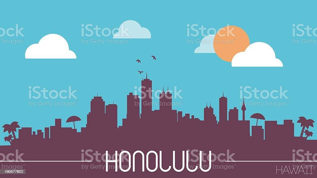 Honolulu Hawaii skyline silhouette vector art illustration