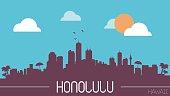 Honolulu Hawaii skyline silhouette