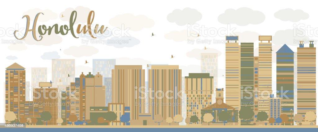 Honolulu Hawaii skyline with grey buildings and blue sky vector art illustration