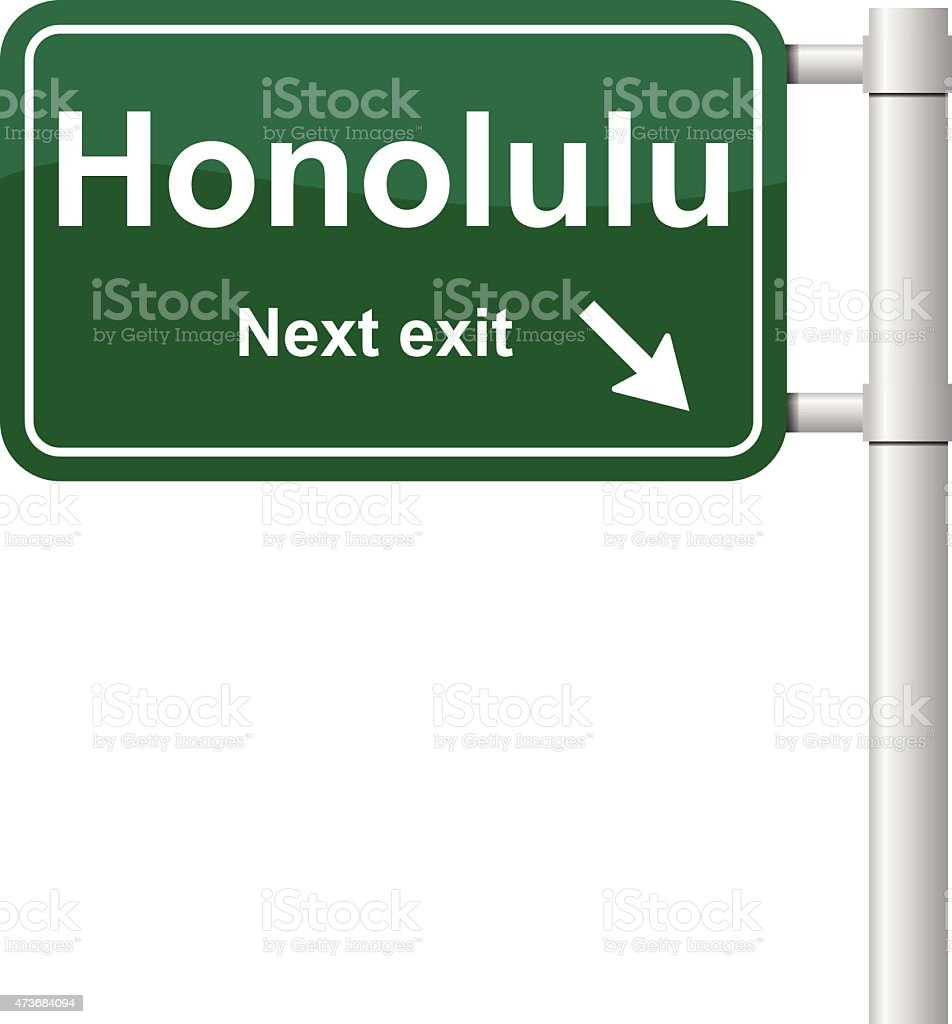 Honolulu next exit signal vector vector art illustration