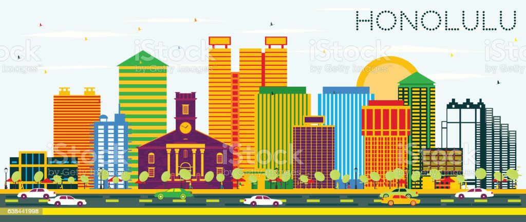 Honolulu Skyline with Color Buildings and Blue Sky. vector art illustration