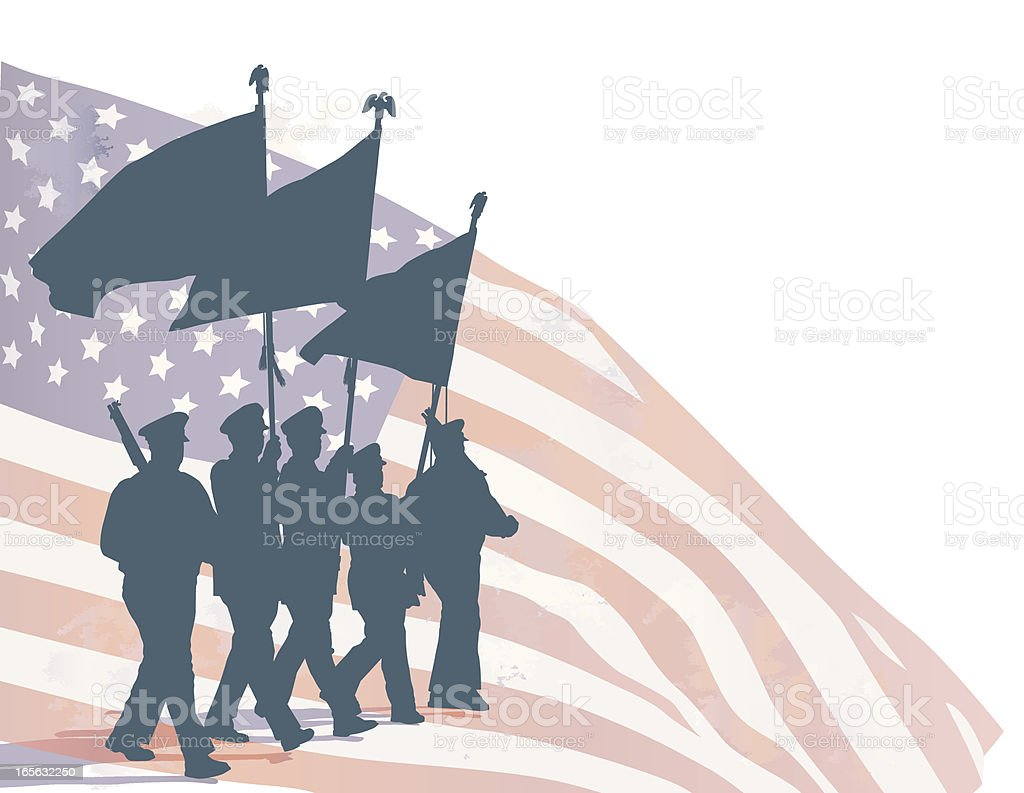 Honor guard and US flag vector art illustration