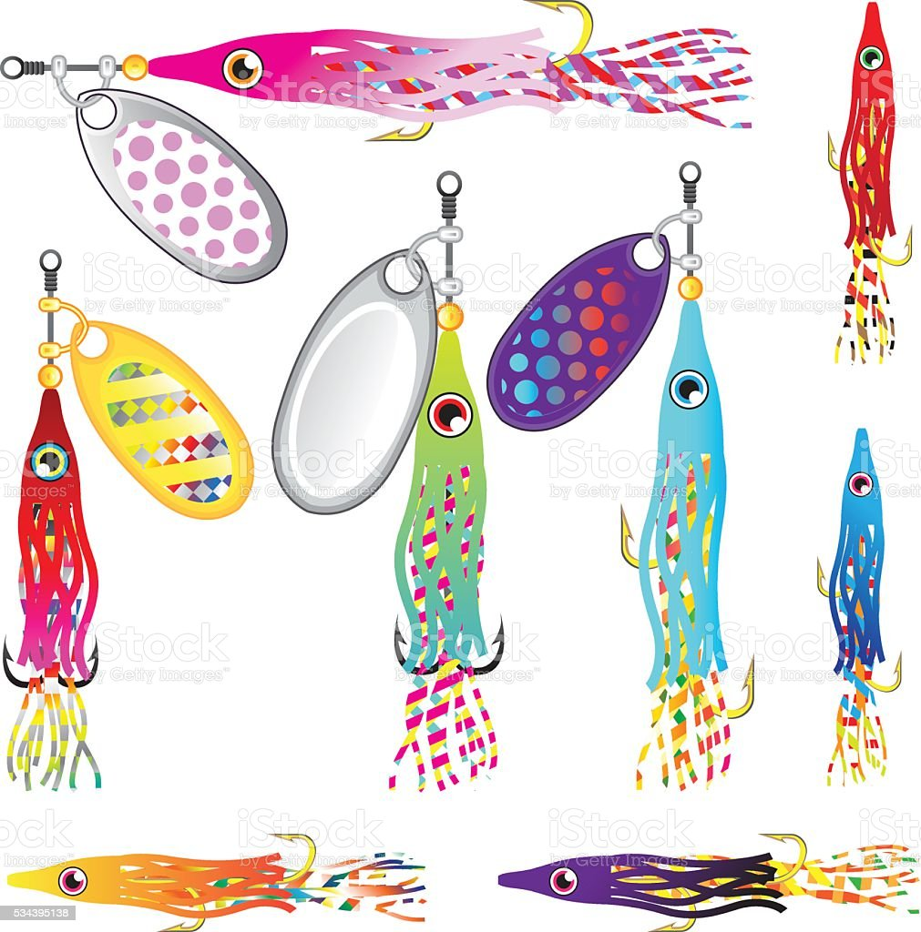 Hoochie Squid Fishing lure Spinners Vectors Trolling lure vector art illustration