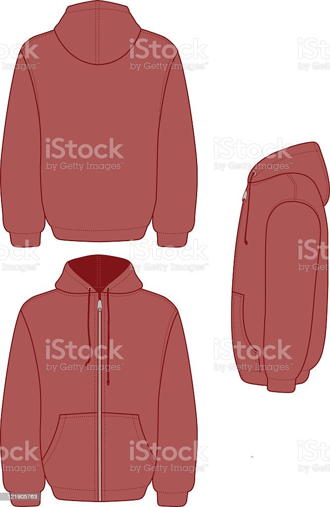 Hooded Full Zip Fleece royalty-free stock vector art