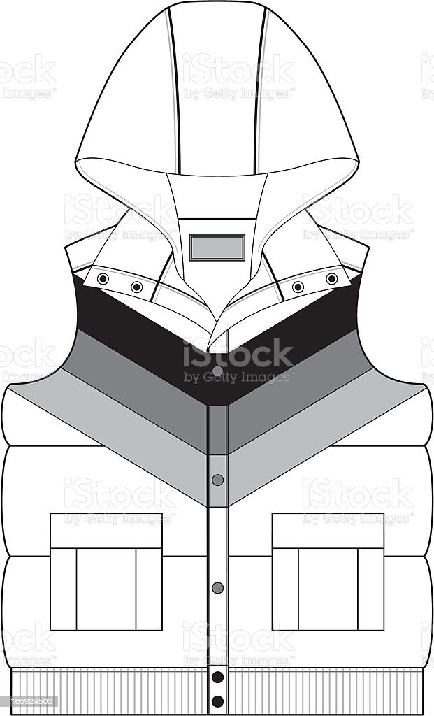 Hooded Gilet Jacket with Stripe royalty-free stock vector art