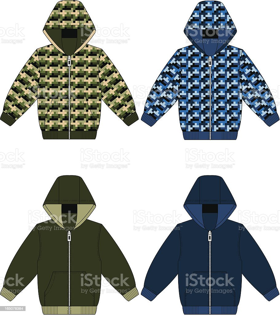 Hooded Top Camouflaged and Plain royalty-free stock vector art