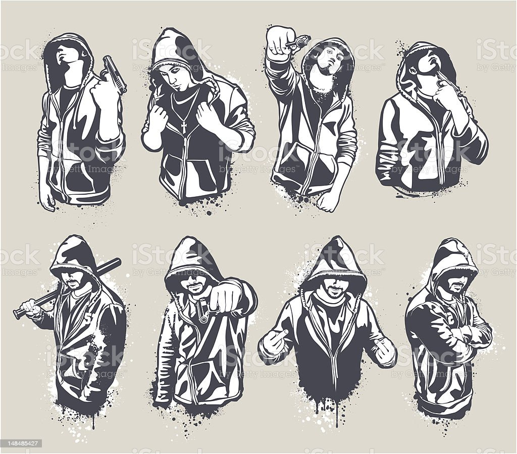 Hoody gangsters set royalty-free stock vector art