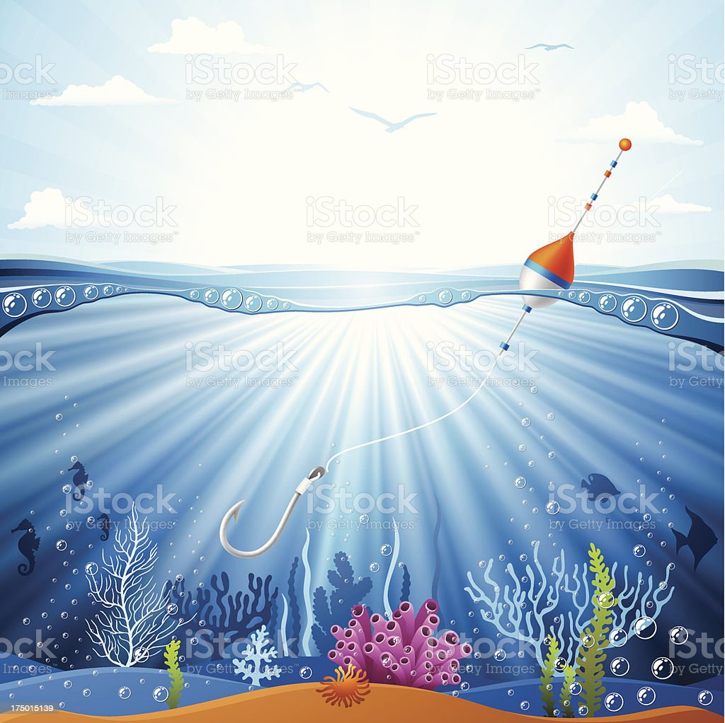 Hook and float underwater vector art illustration
