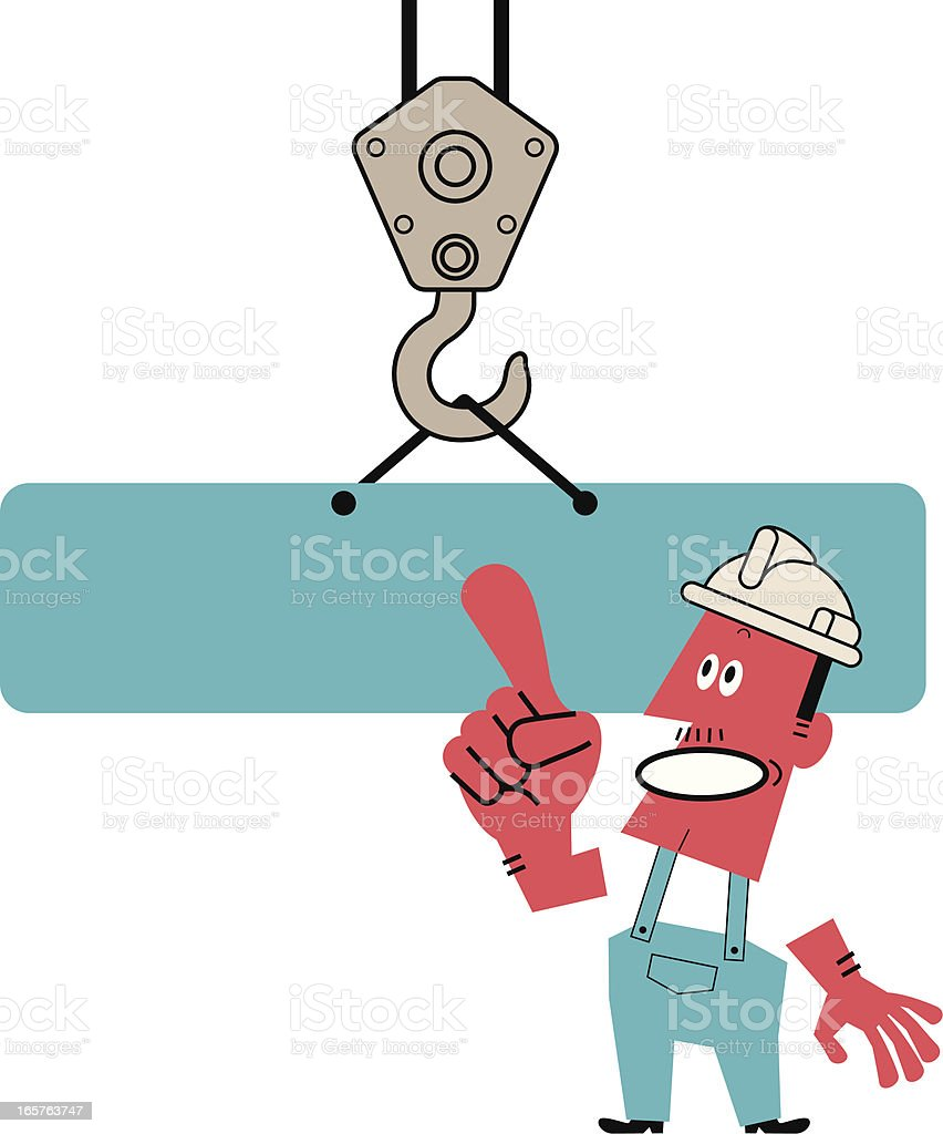 Hook holding empty billboard and Worker pointing at something vector art illustration