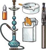 Hookah, pack, ashtray, electronic cigarette and tobacco e-liquid