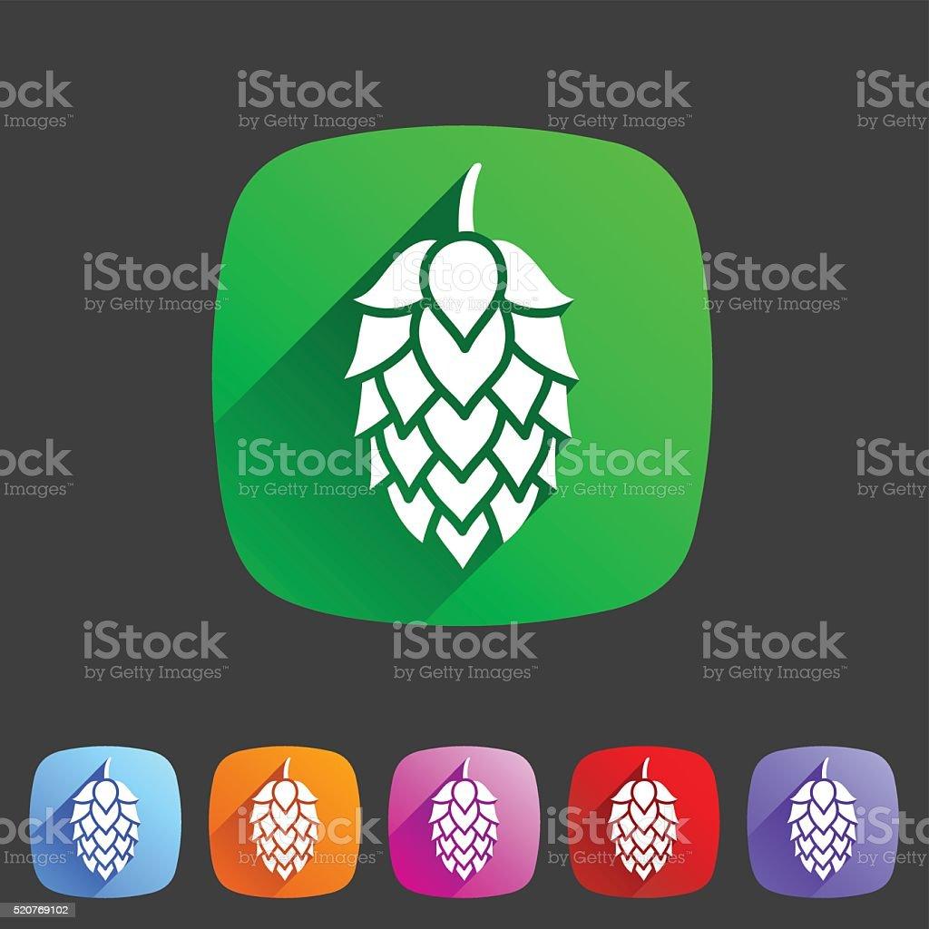 Hop beer sign icon flat web symbol logo label vector art illustration