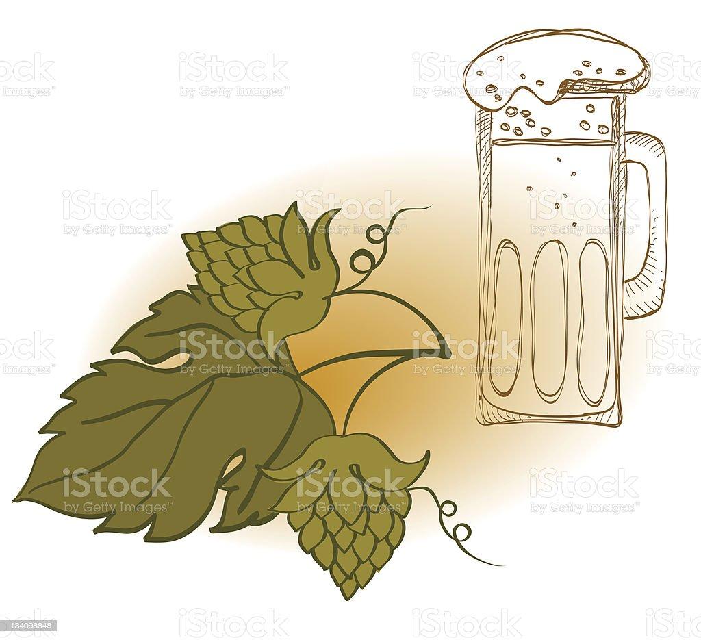 Hop Cones, Leaves And Mug of Beer vector art illustration