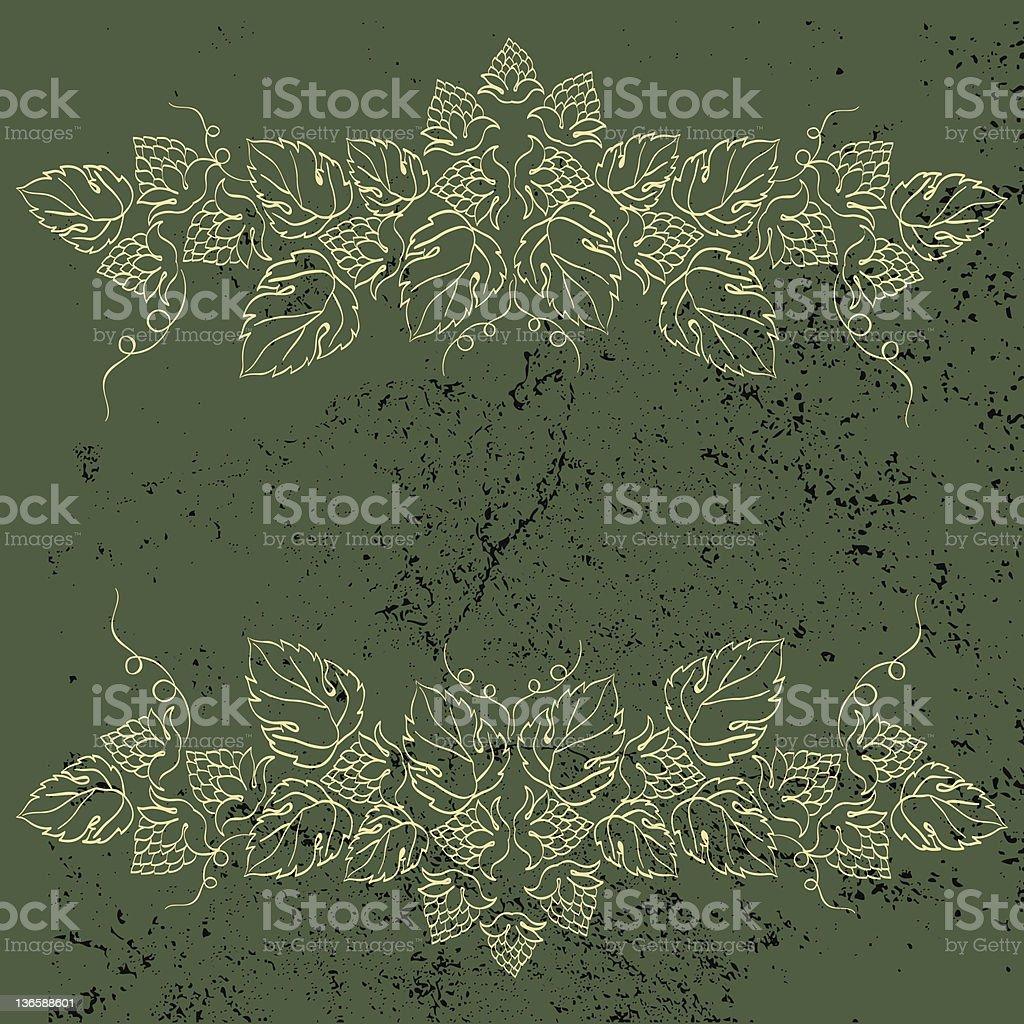 Hop Ornament On Green Grunge Background vector art illustration