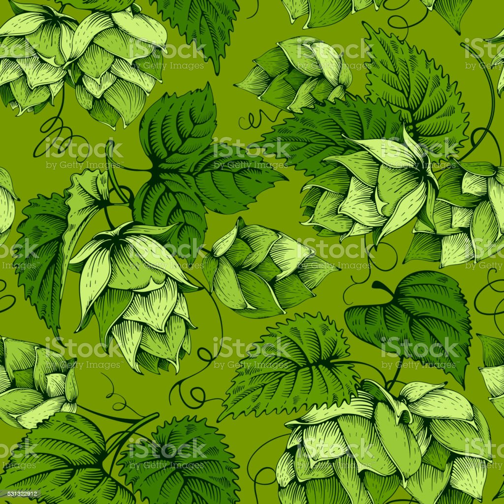 Hops seamless pattern vector art illustration