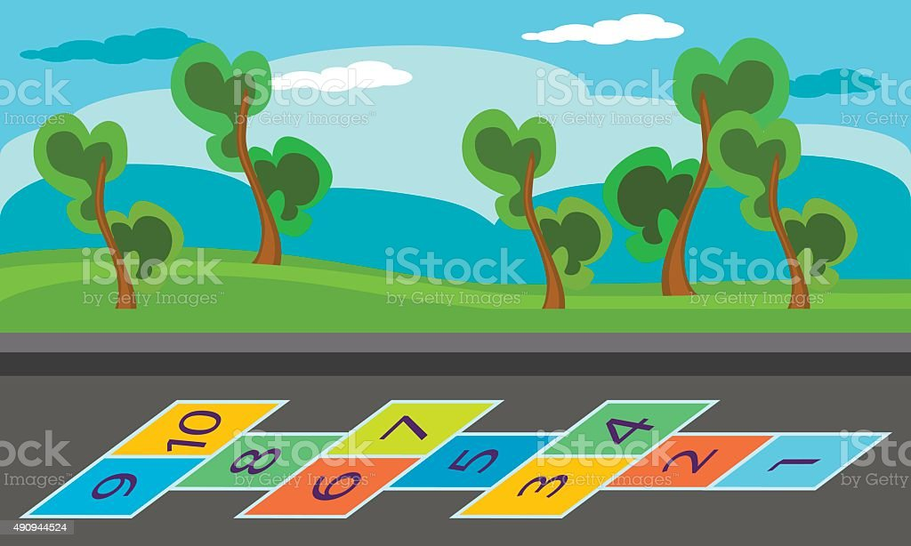 Hopscotch an asphalt floor with chalk drawings of numbers vector art illustration