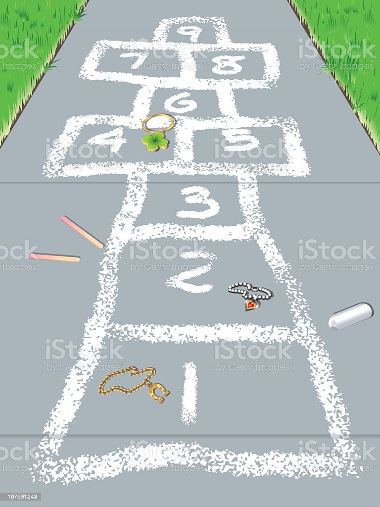 Hopscotch vector art illustration