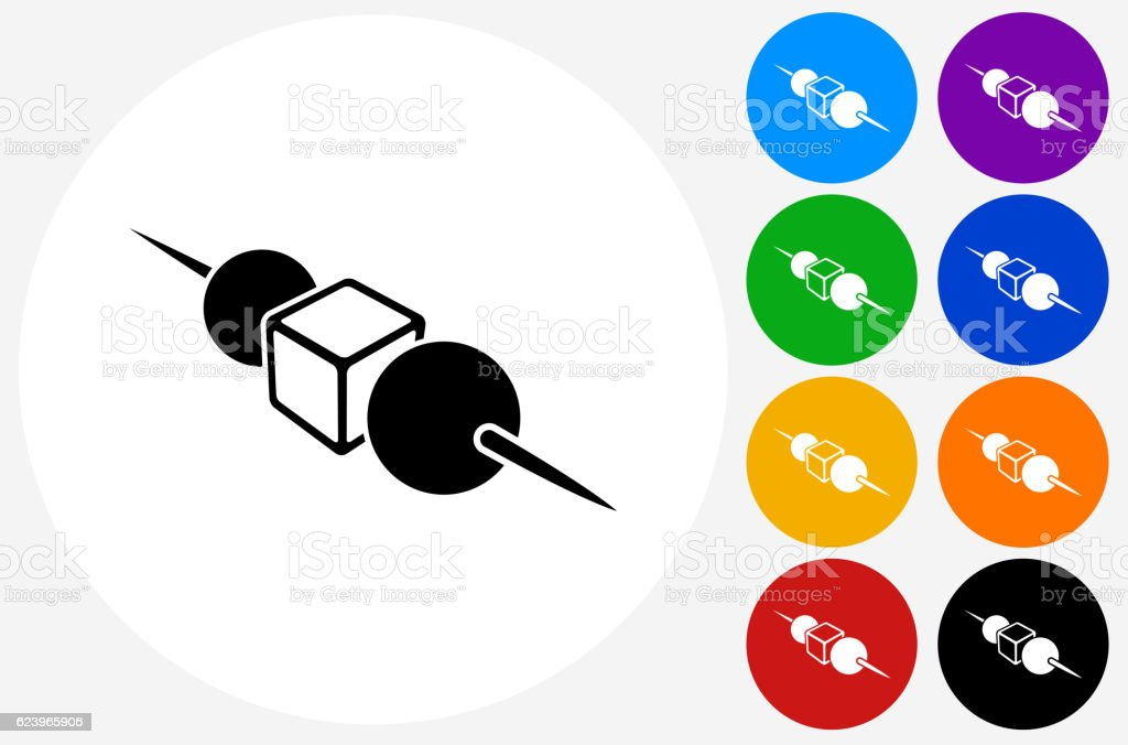 Horderves Icon on Flat Color Circle Buttons vector art illustration