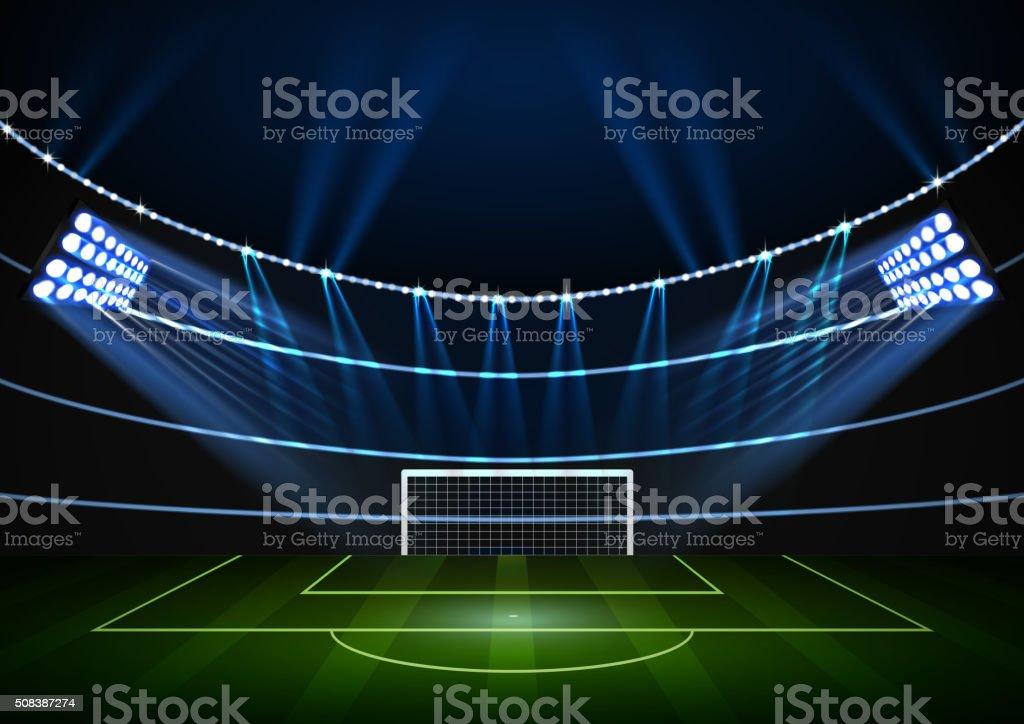 Horizontal Background for night football stadium in the spotlight vector art illustration