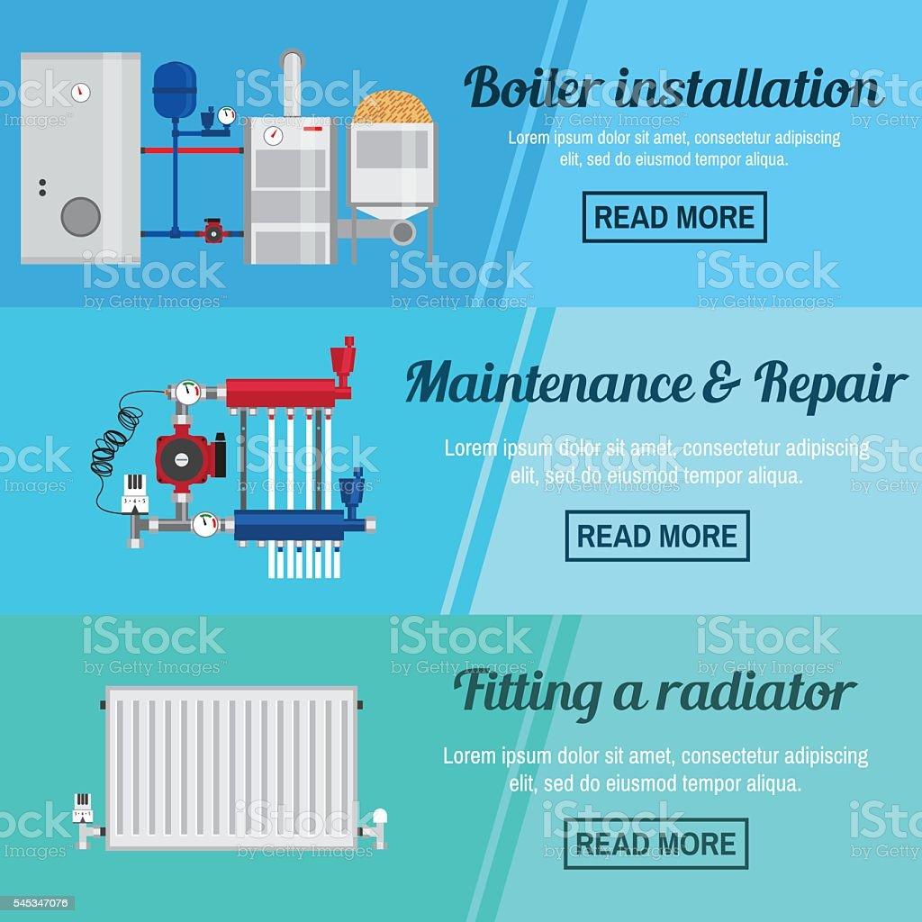 Horizontal banner set with boiler Installation. vector art illustration