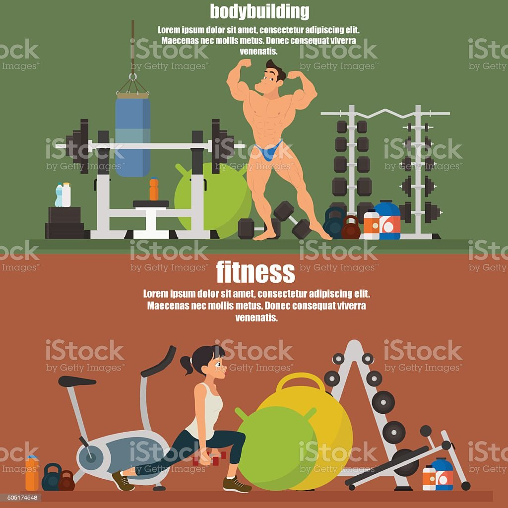 horizontal banners - bodybuilding and fitness vector art illustration