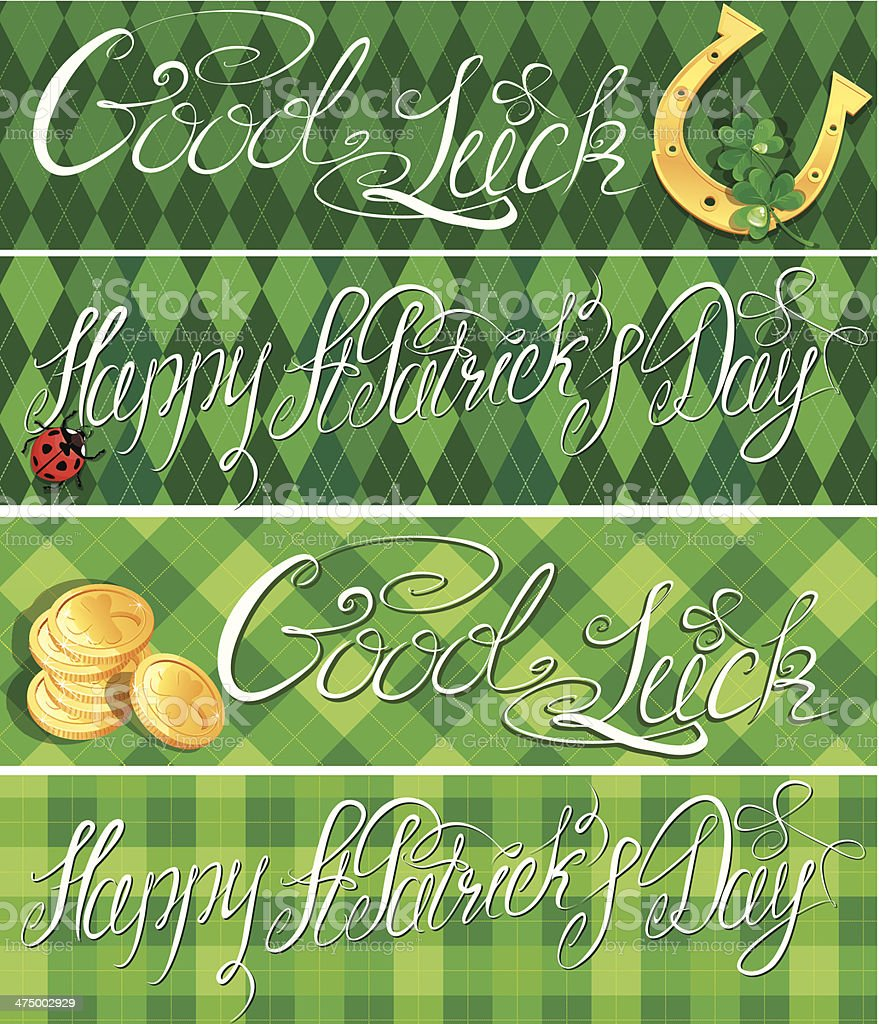 horizontal banners - Happy St. Patrick`s Day on checkered background royalty-free stock vector art