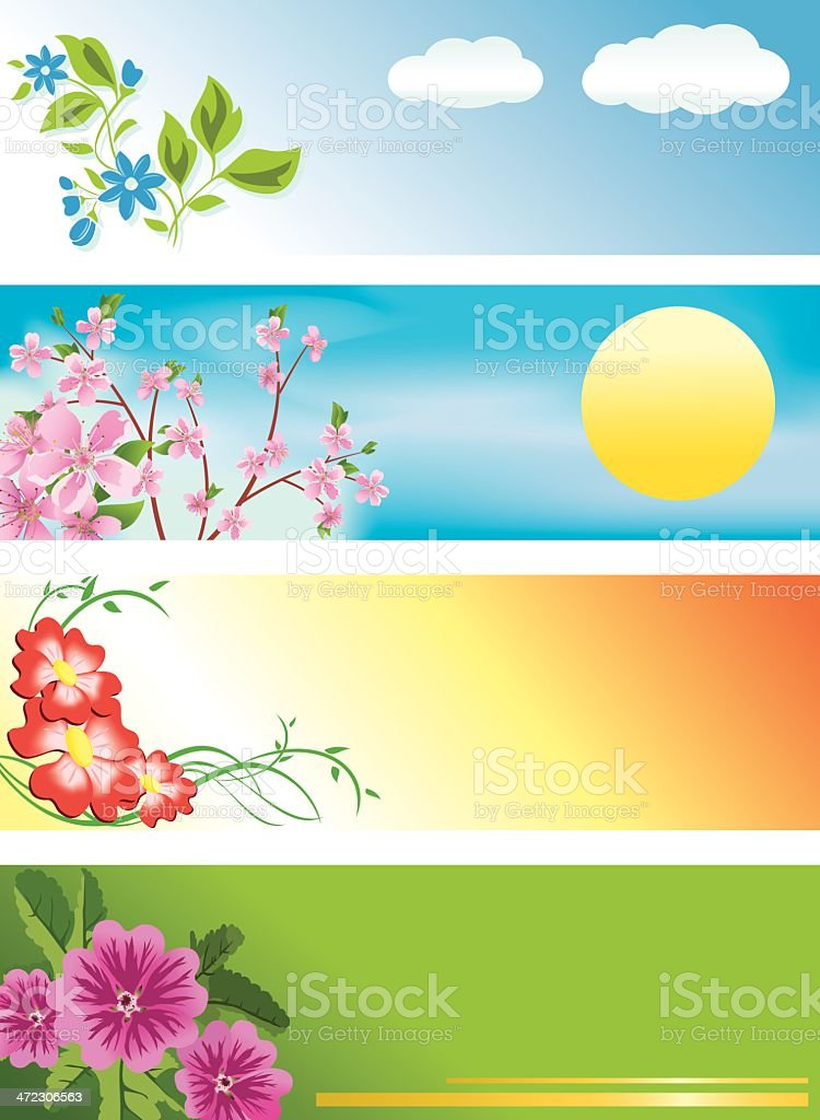 horizontal banners with flowers royalty-free stock vector art