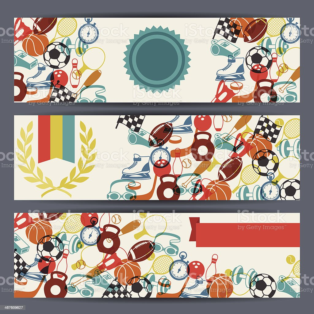 Horizontal banners with sport icons. royalty-free stock vector art