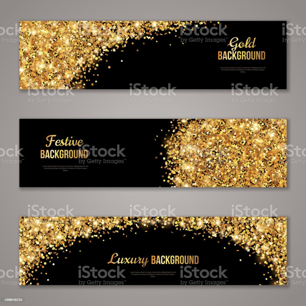 Horizontal Black and Gold Banners Set vector art illustration