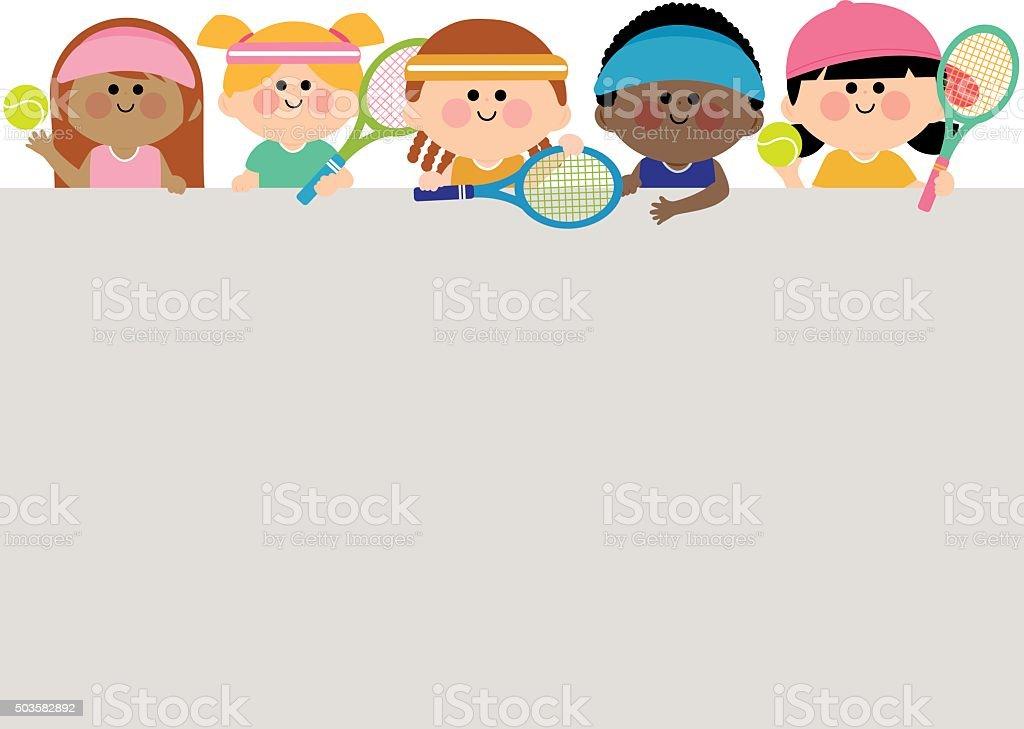 Horizontal blank banner and kids tennis players. vector art illustration