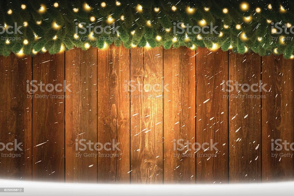 Horizontal blank Wooden background with bright garland and snow vector art illustration