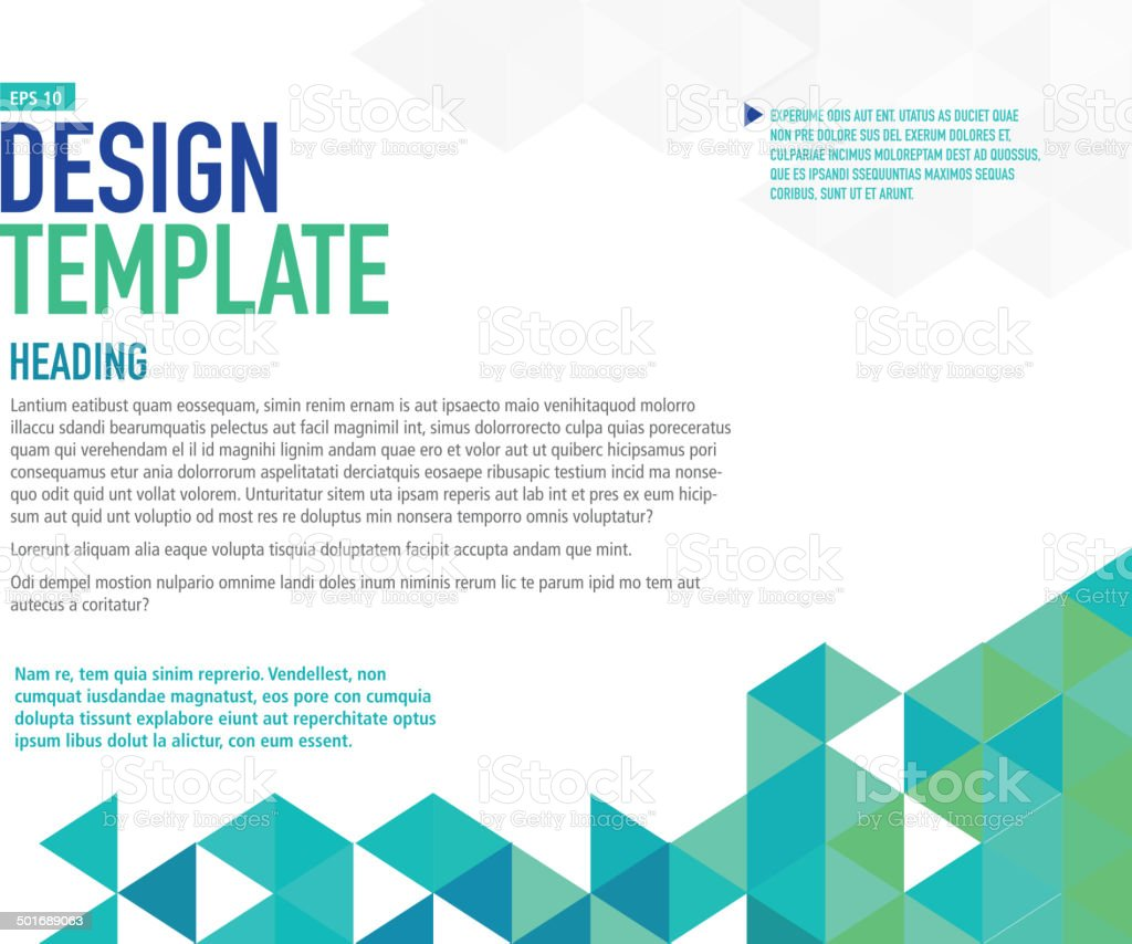 Horizontal blue presentation template with sample text layout vector art illustration