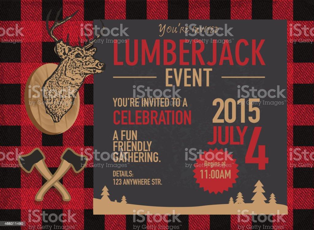 Horizontal chalk Lumberjack party invitation design template vector art illustration