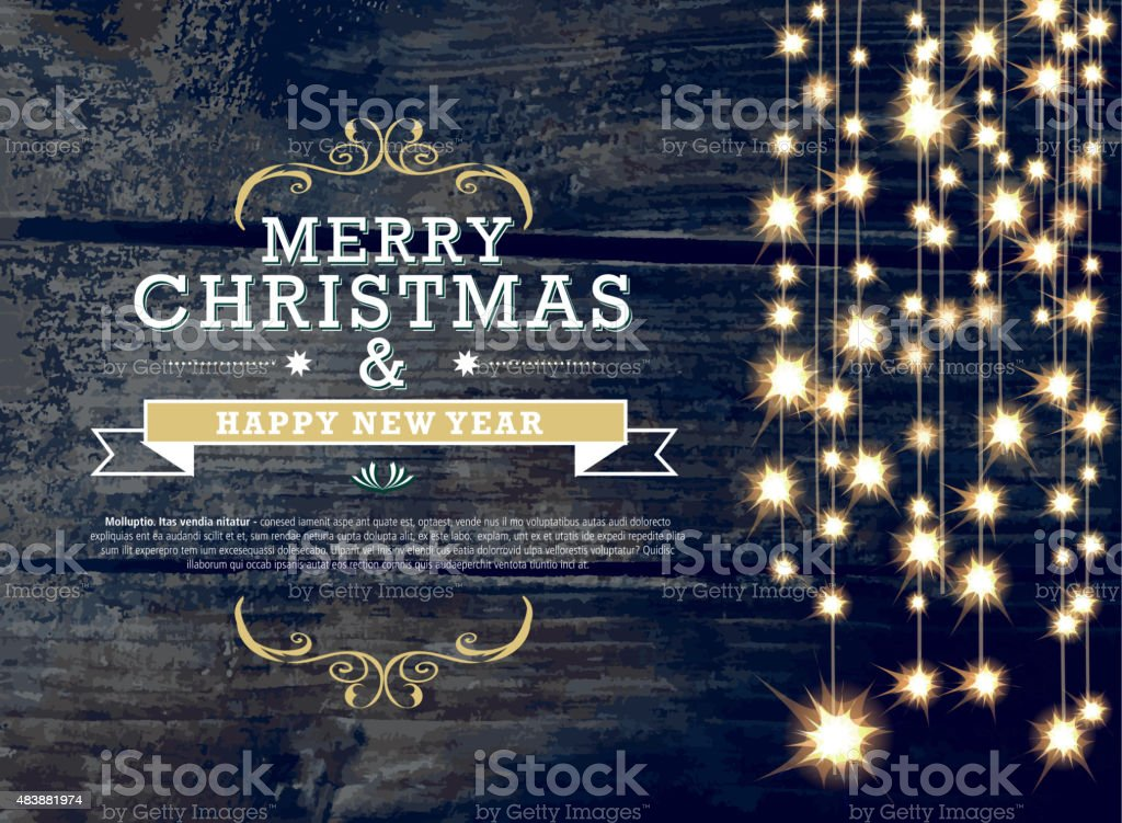 Horizontal Christmas and New Year invitation design woodgrain string lights vector art illustration
