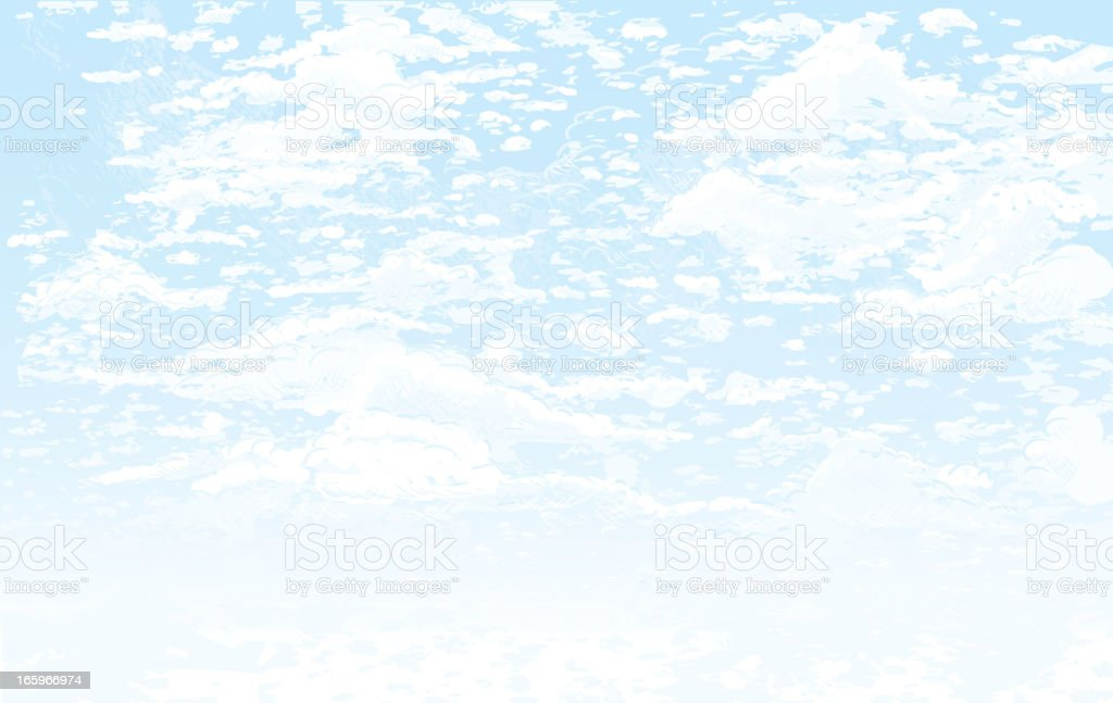 Horizontal cloudy blue sky background vector art illustration