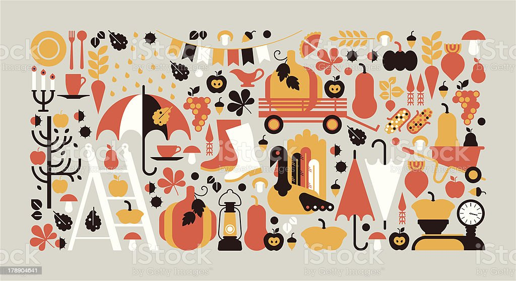 Horizontal composition with Autumn symbols. vector art illustration