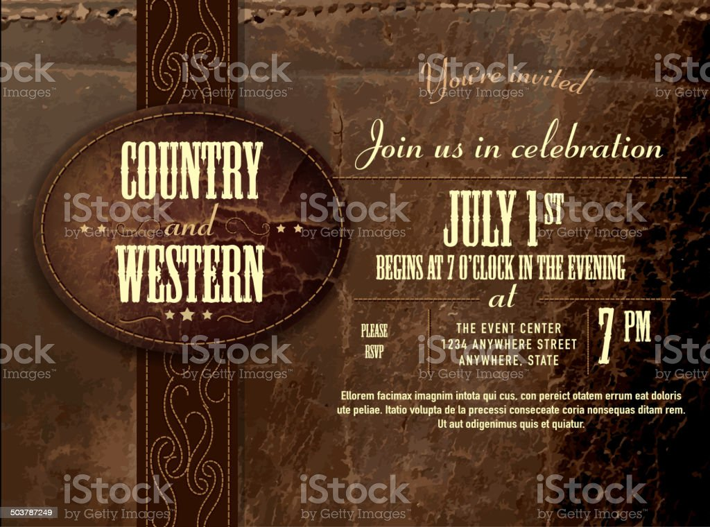 Horizontal counry and western Leather invitation design template vector art illustration