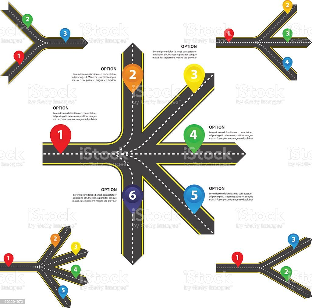 Horizontal Diverging and converging roads Set - Vector infographics vector art illustration