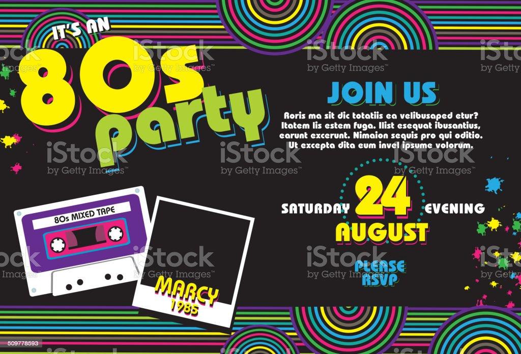Horizontal Eighties party themed invitation design template vector art illustration