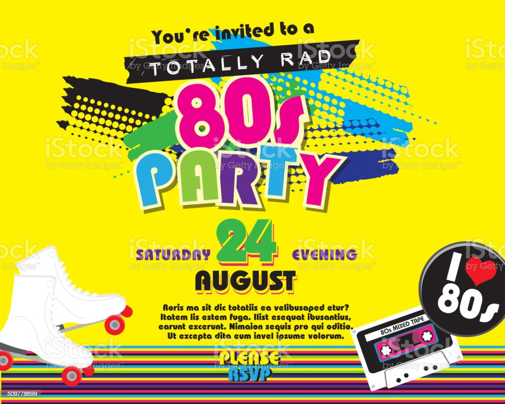 Horizontal Eighties party themed invitation design template vector art illustration