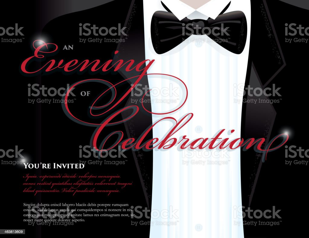 Horizontal Elegant invitation design template with tuxedo vector art illustration