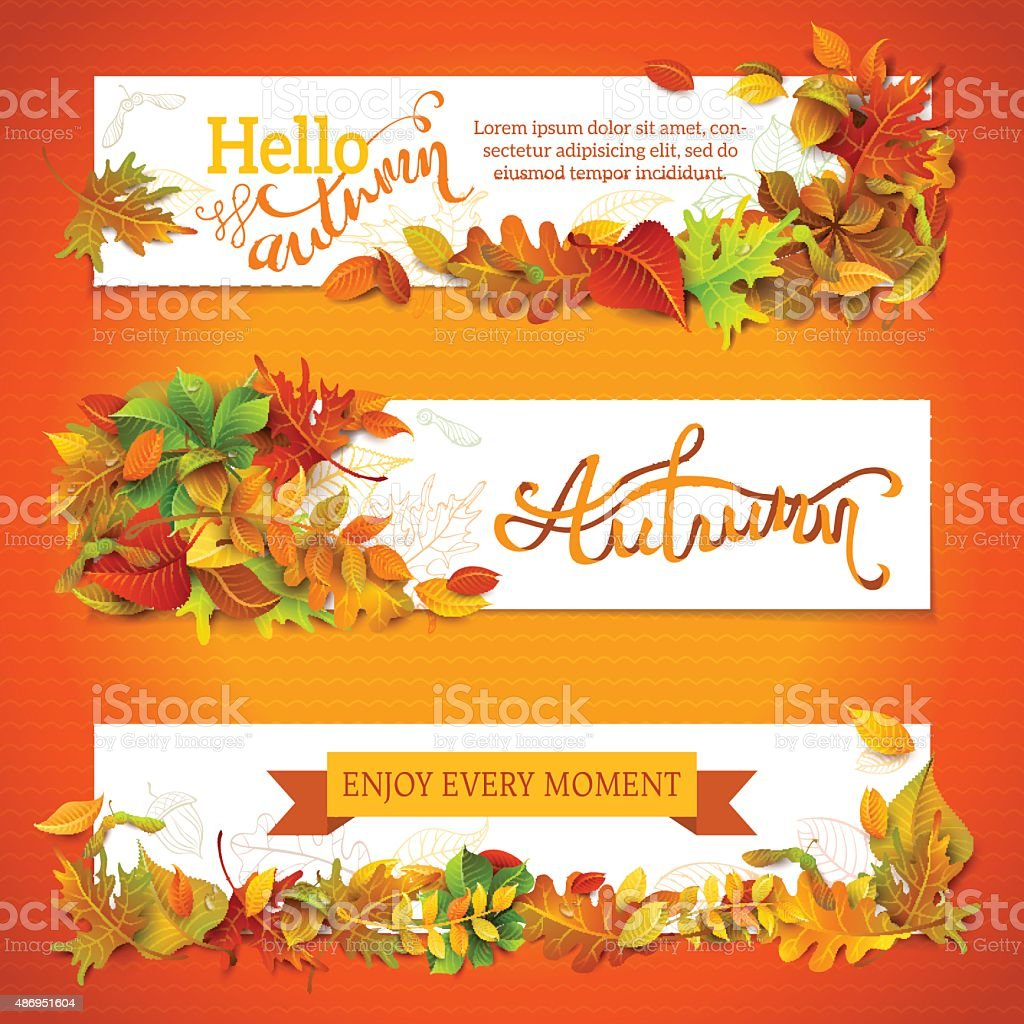 Horizontal fall banners set. vector art illustration