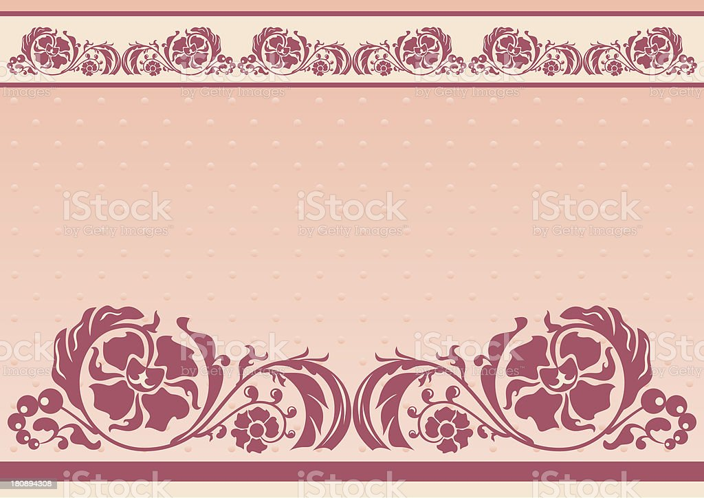 Horizontal floral frame in pink and beige colors royalty-free stock vector art