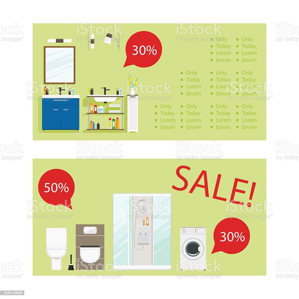 Bathroom furniture sale - Horizontal Flyers For Bathroom Furniture Sale Royalty Free Stock Vector Art