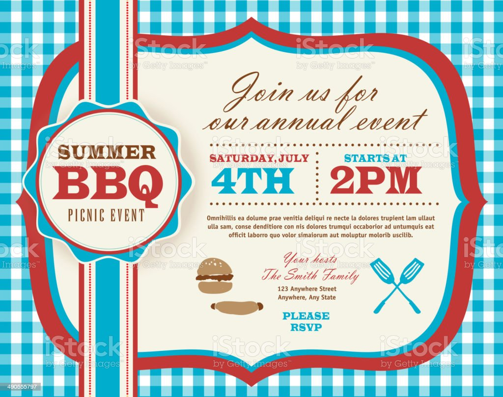 Picnic invitation design template vector art illustration