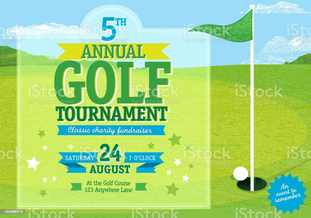 Horizontal Golf tournament invitation design template royalty-free stock vector art