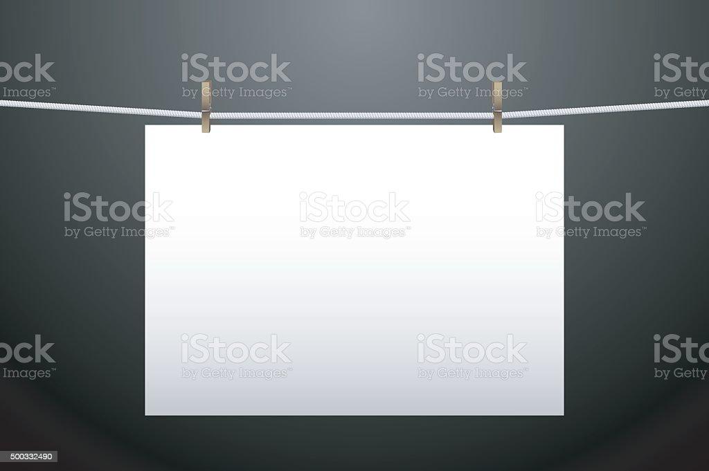 Horizontal handing paper vector art illustration