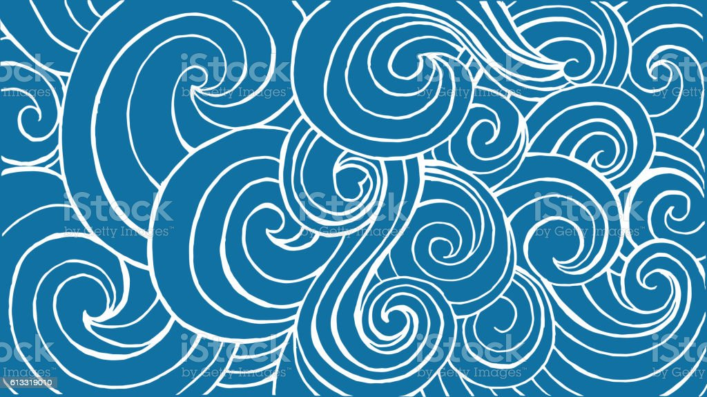 Horizontal header for website with blue waves and white contour. vector art illustration