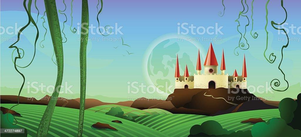 Horizontal Landscape Castle Background royalty-free stock vector art