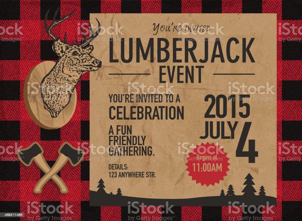Horizontal Lumberjack party invitation design template vector art illustration