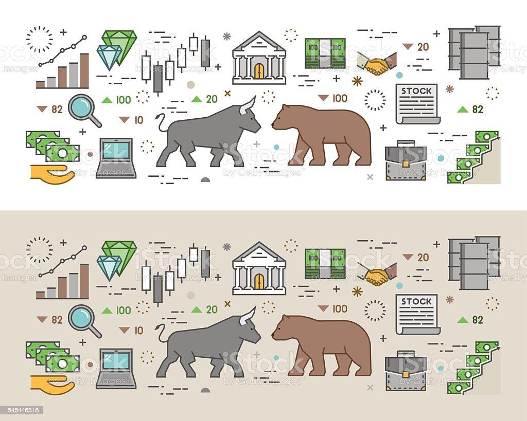 Horizontal modern concept of stock market. vector art illustration